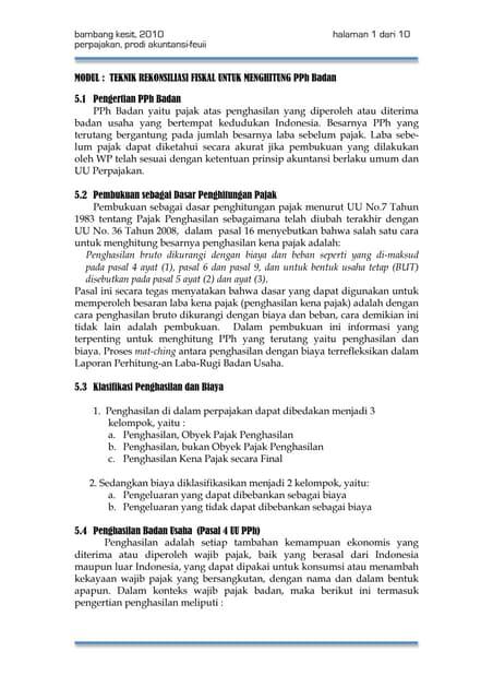 Soal Kasus Pph Badan