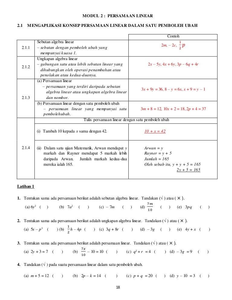 Modul 2 Persamaan Linear