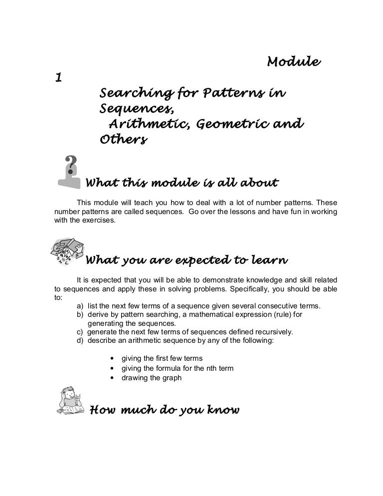 Grade 10 Math Module 1 searching for patterns, sequence and