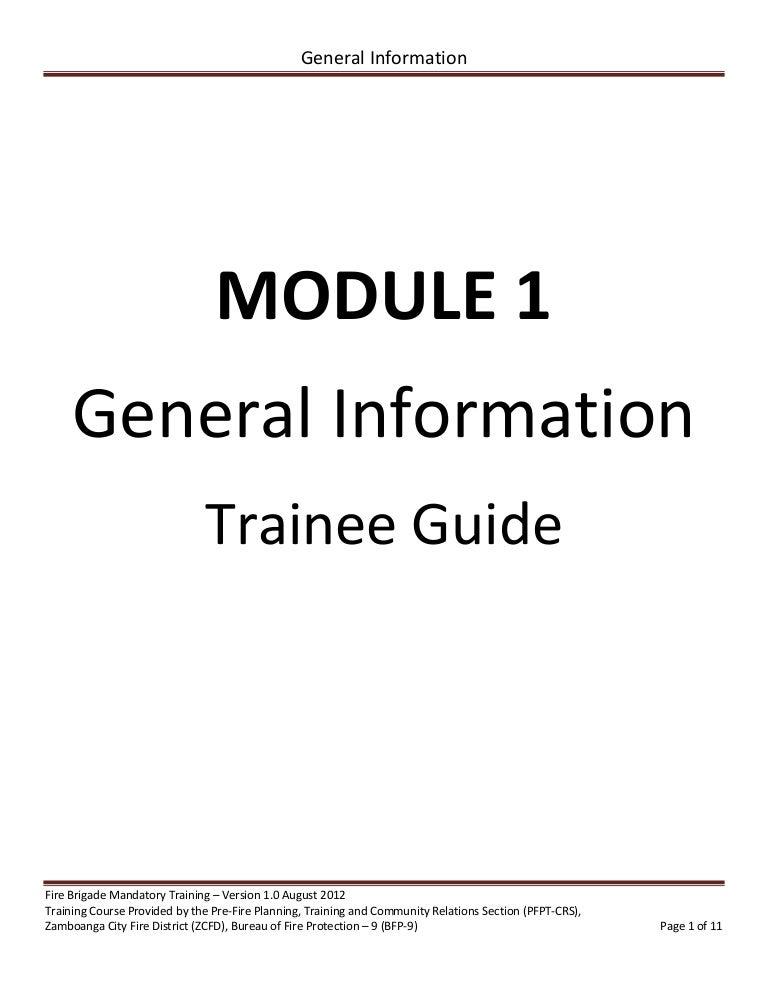 Volunteer Fire Brigade Training Module 1 General Information