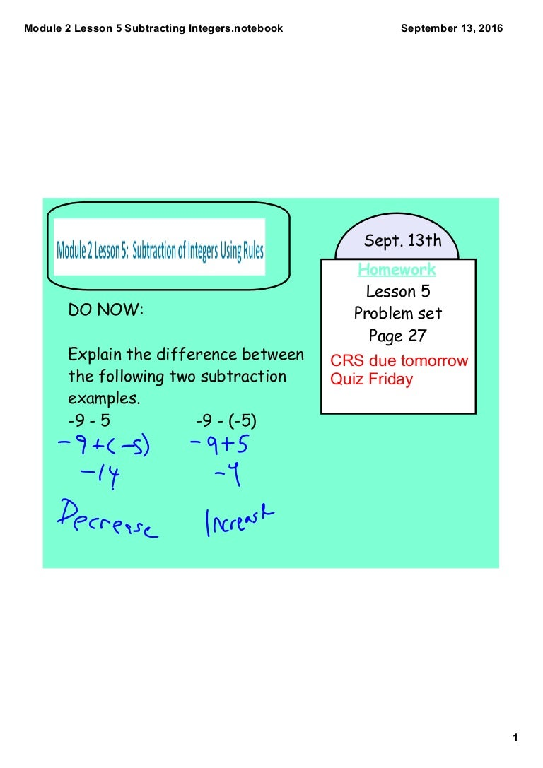 Module 2 lesson 5 subtracting integers