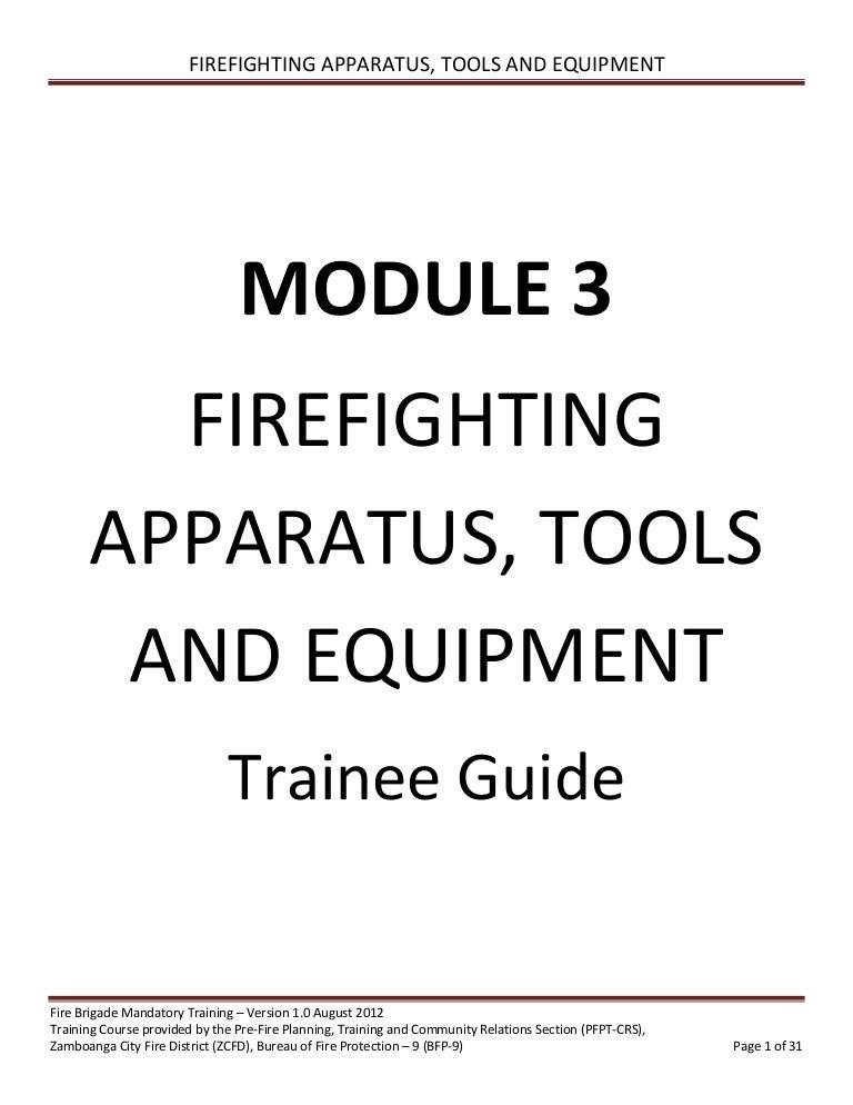 Volunteer Fire Brigade Training Module 3 firefighting