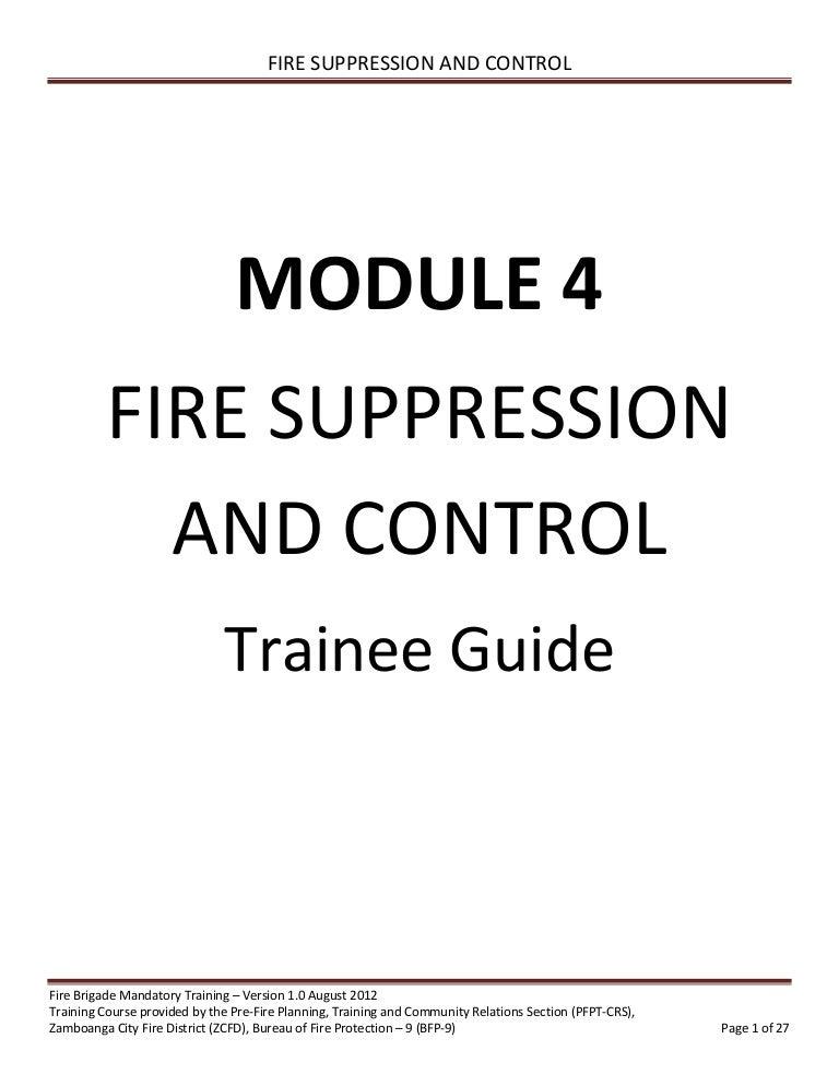 Volunteer Fire Brigade Training Module 4 fire suppression and control