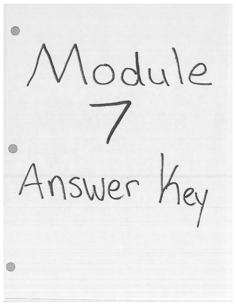 Module 7 Answer Key For Homework