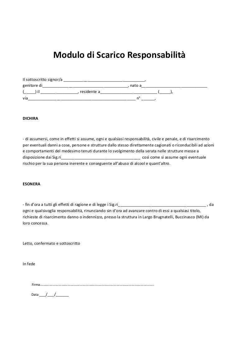 Modulo di scarico responsabilit pdf for Contratto di locazione 4 4 modello