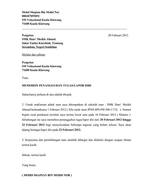 Contoh Surat Penangguhan Lapor Diri