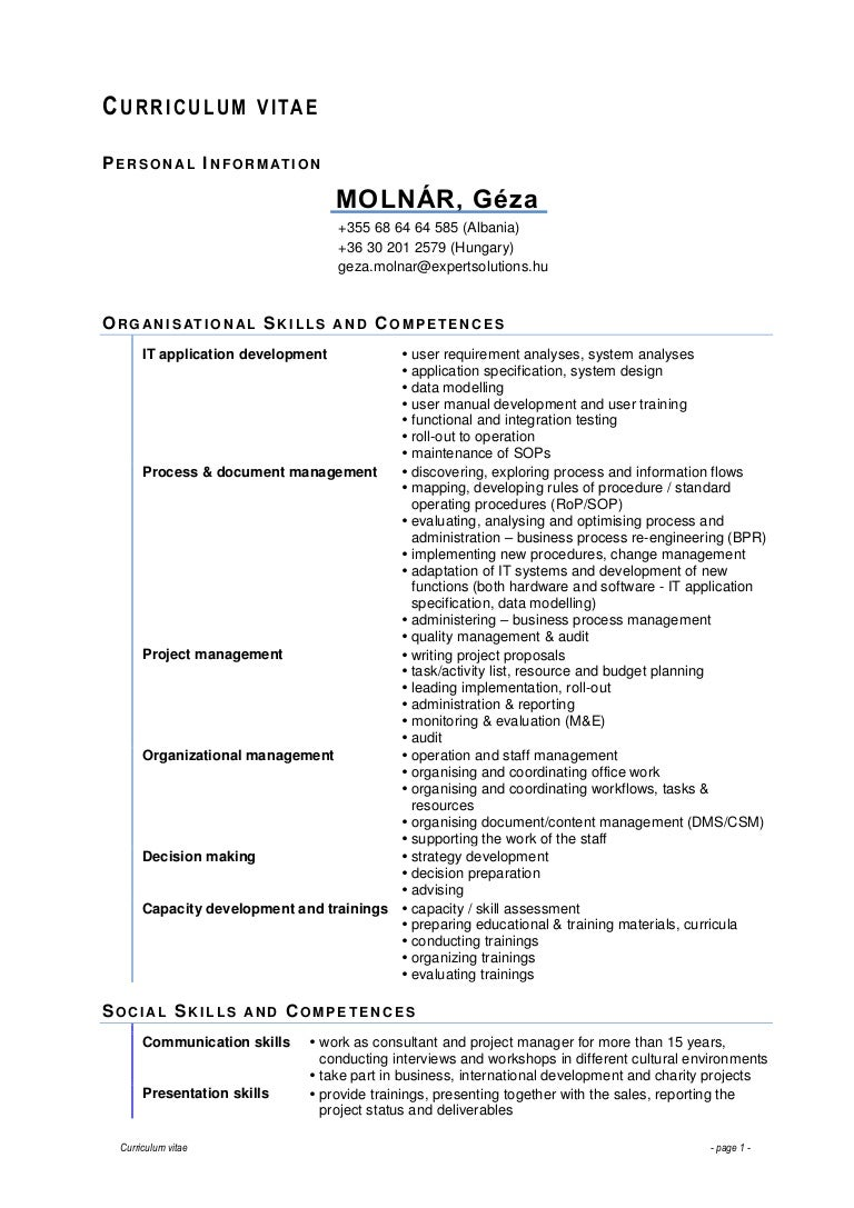 Cv Social Skills And Competencies Example