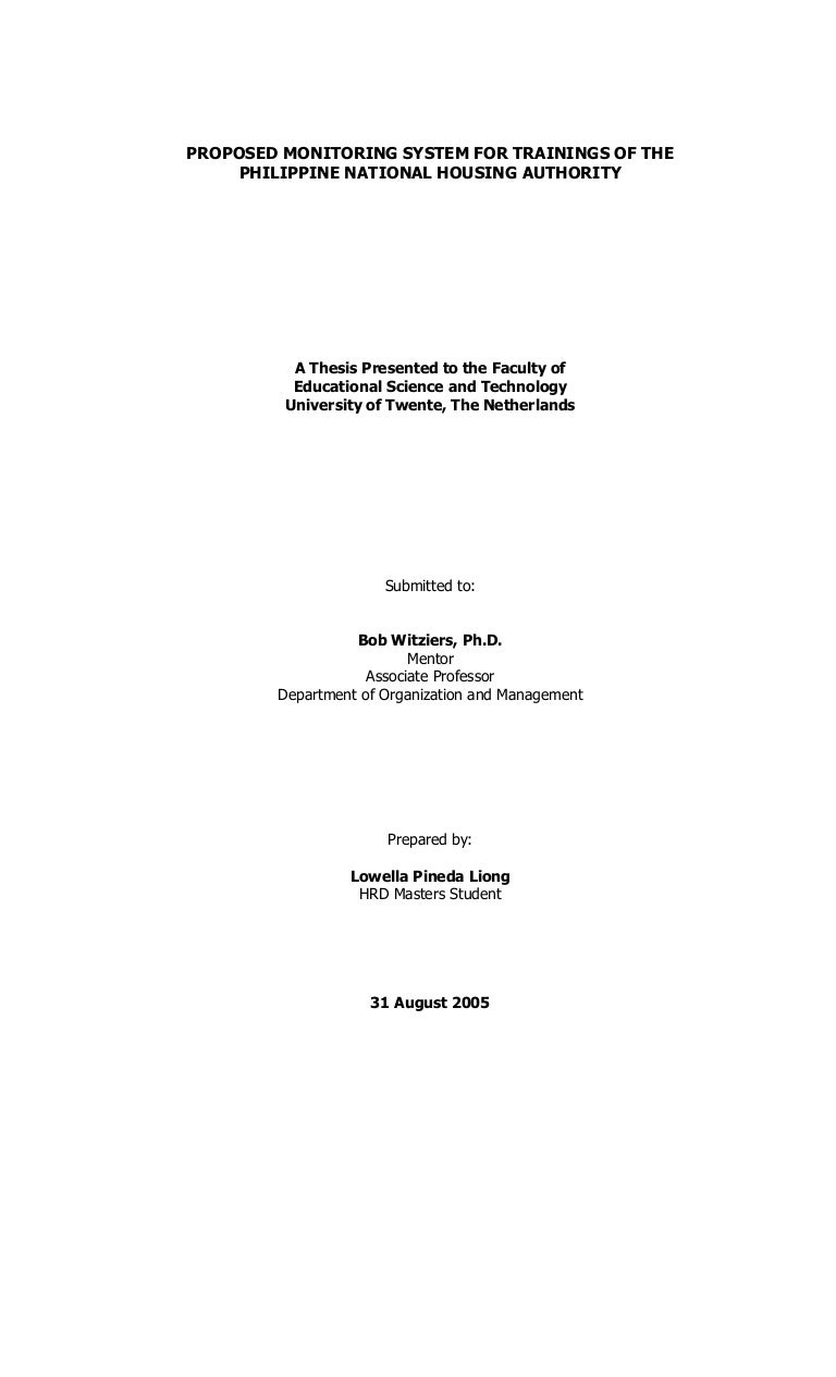 Sample of thesis title page