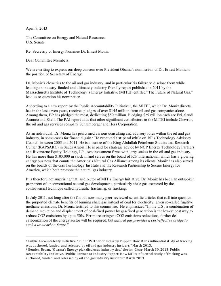 americans against fracking letter to senate energy committee denounci