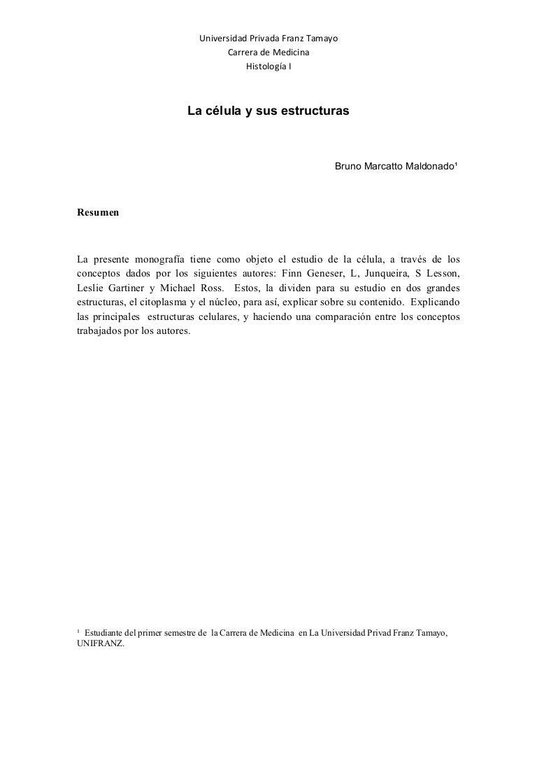 Monografia de histologia I - Celula - Bruno Marcatto Maldonado