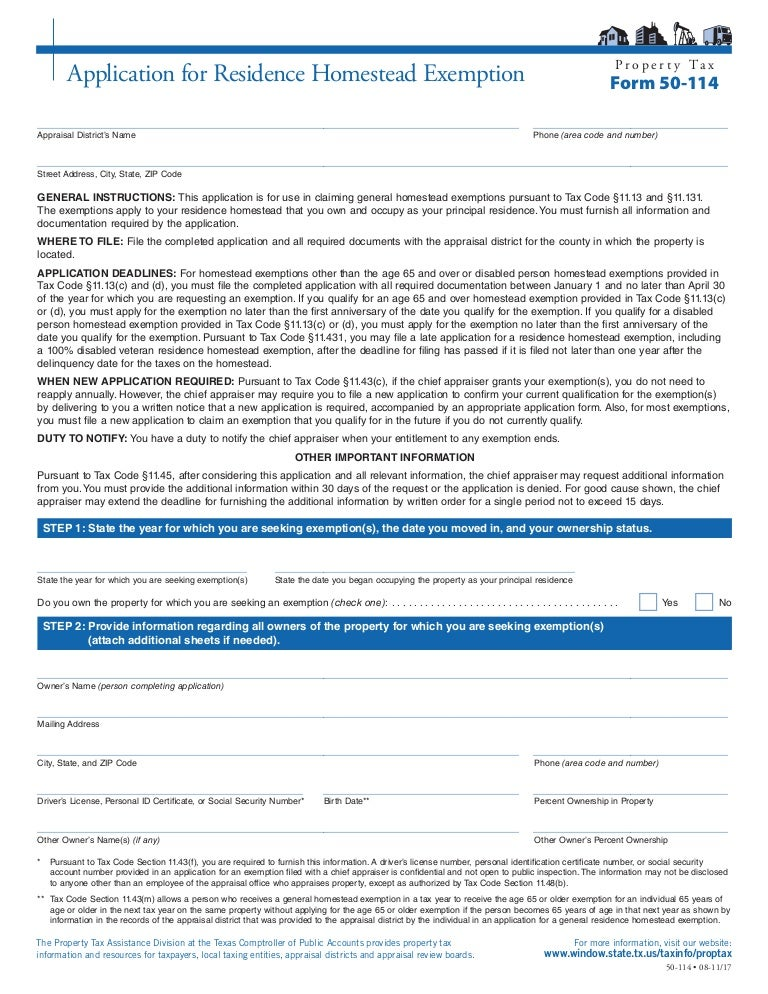 Montgomery Co Tx Homestead Exemption Form