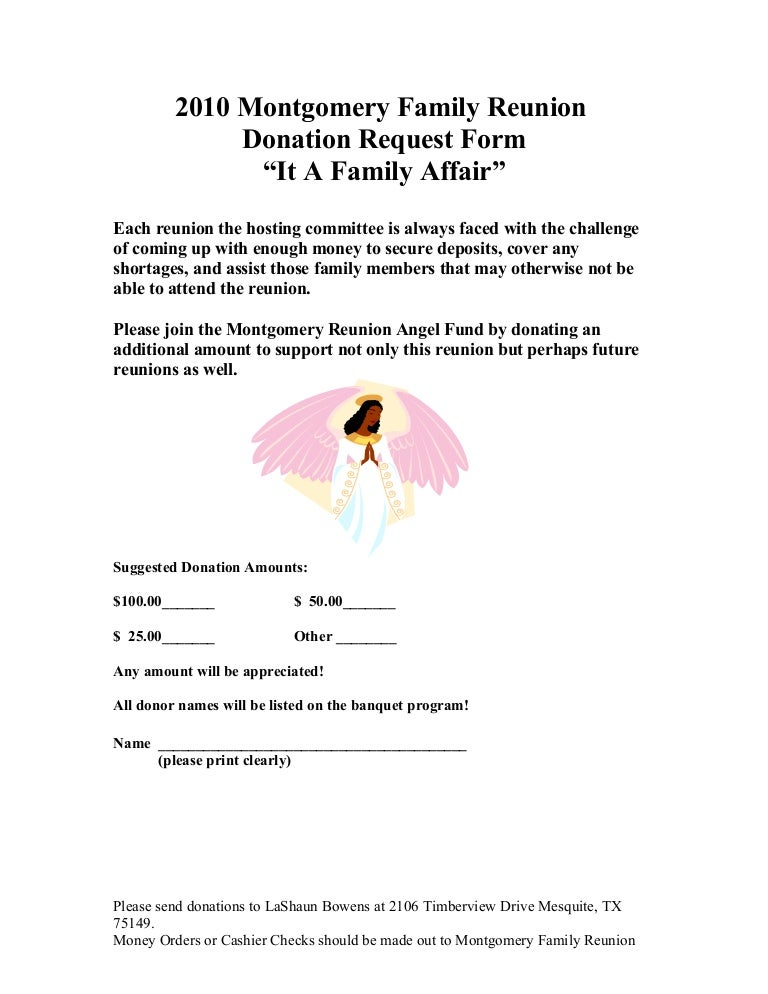 Montgomery Family Donation Request Form 2010