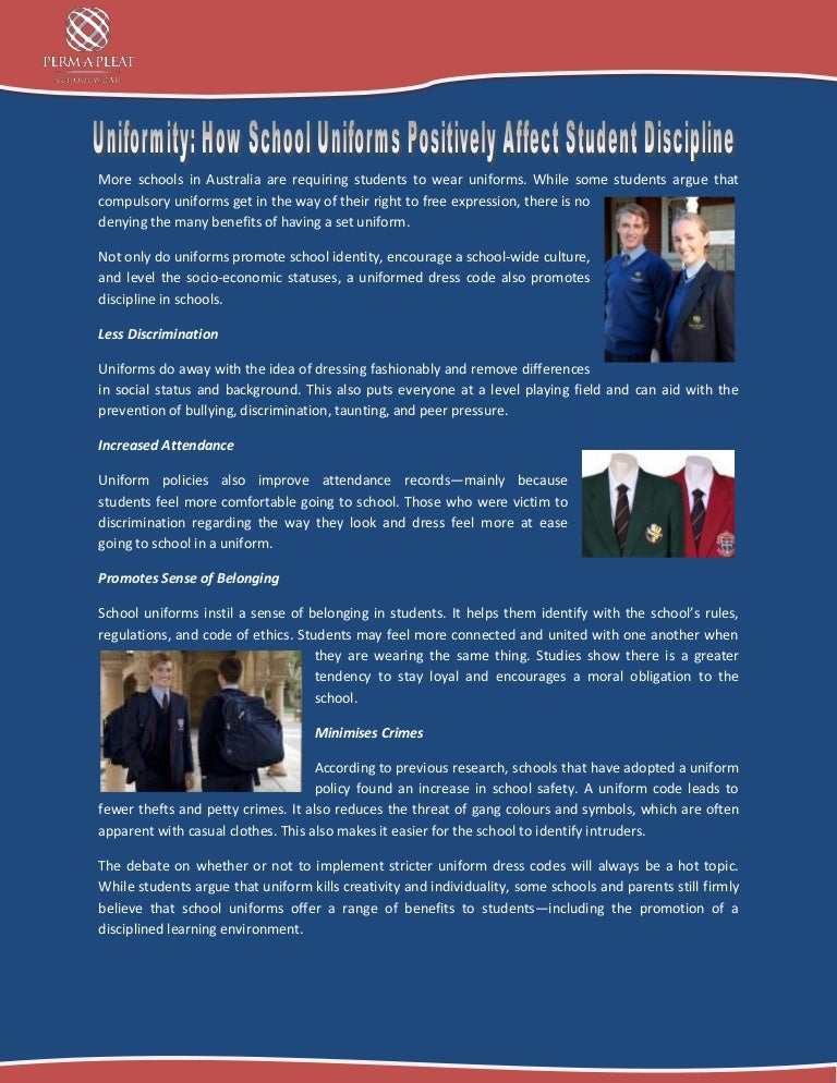 should students be required to wear uniforms essay Wearing uniforms limits some factors for both the school and the students there has been a growing debate regarding this in recent times, to the point that some schools don't require their students to wear any uniform however, the number of such schools is way smaller in comparison to those still.