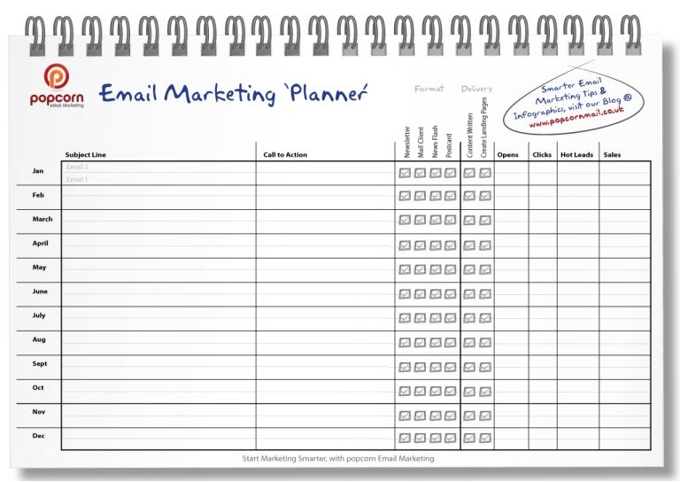 Monthly Email Marketing planner Template