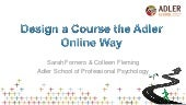 Design a Course the Adler Online Way