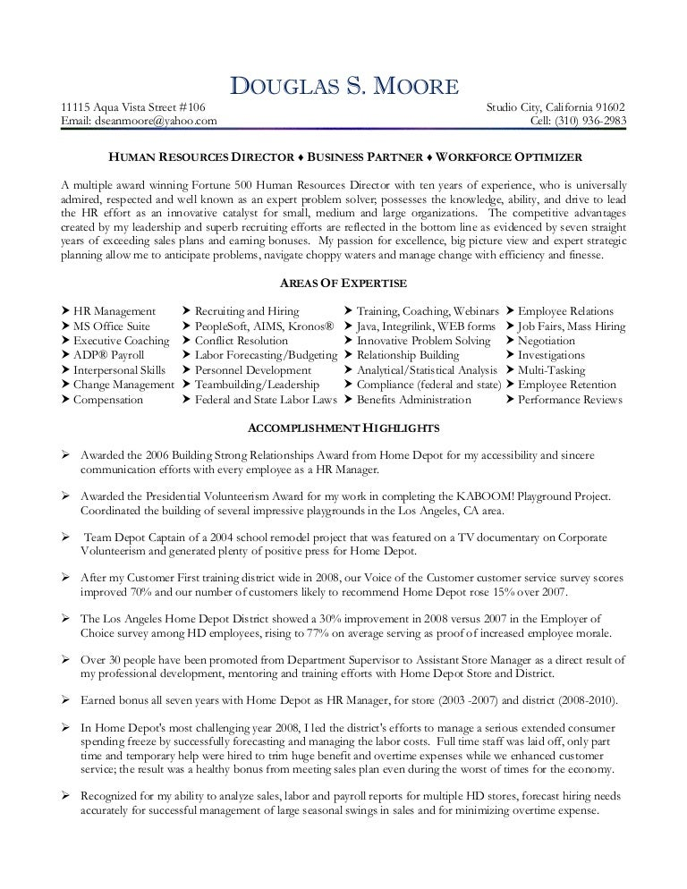 moore douglas hr director resume 2010 - Employee Relation Manager Resume