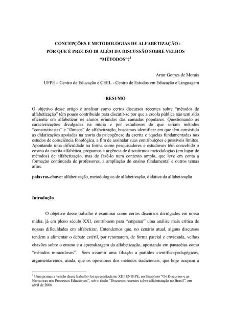 Morais   concepções e metodologias de alfabetização