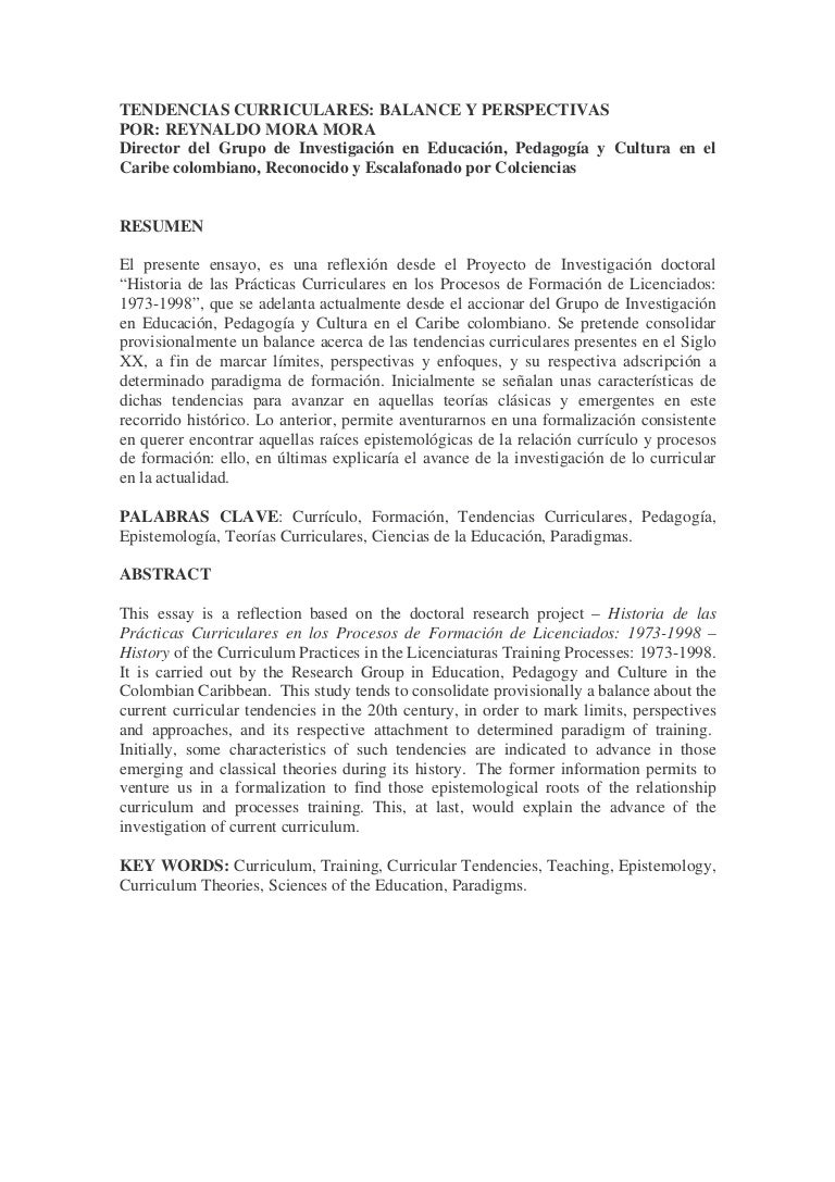 Mora, r. tendencias curriculares balance y perspectivas