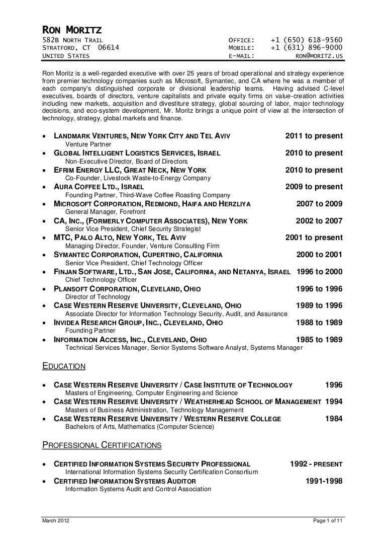 Ron Moritz Cv March 2012  Equity Research Analyst Resume
