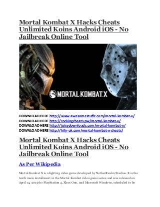 Mortal kombat x hacks cheats unlimited koins android i os