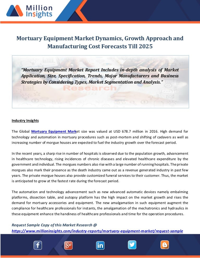 Mortuary equipment market dynamics, growth approach and