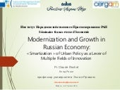 Modernization and Growth in Russian Economy:  « Smartization » of Urban Policy as a Lever of Multiple Fields of Innovation
