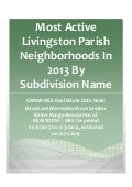 Most Active Livingston Parish Neighborhoods In 2013 By Subdivision Name