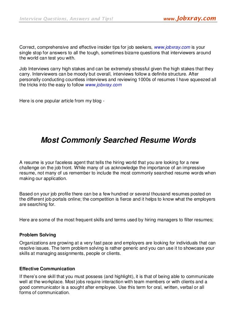 most commonly searched resume words from jobxray com