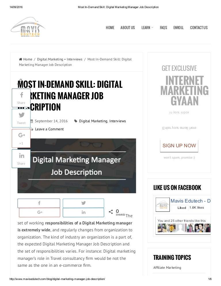 most in demand skill digital marketing manager job description