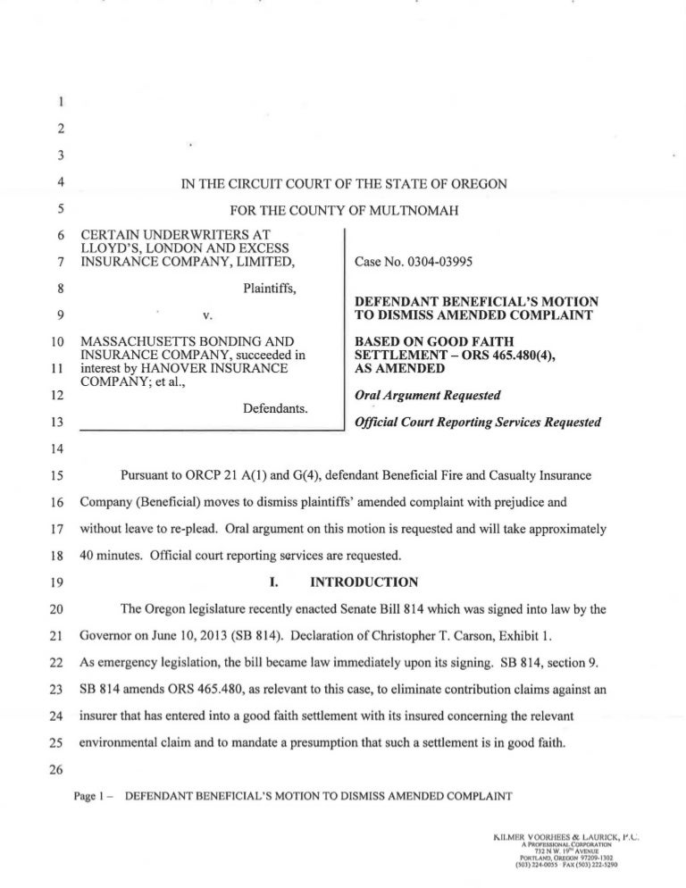 Beneficial Motion to Dismiss Based on SB 814