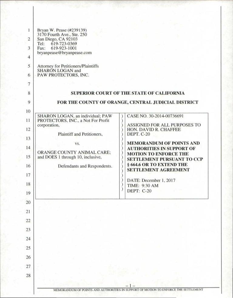 Motion To Enforce Memorandum 1