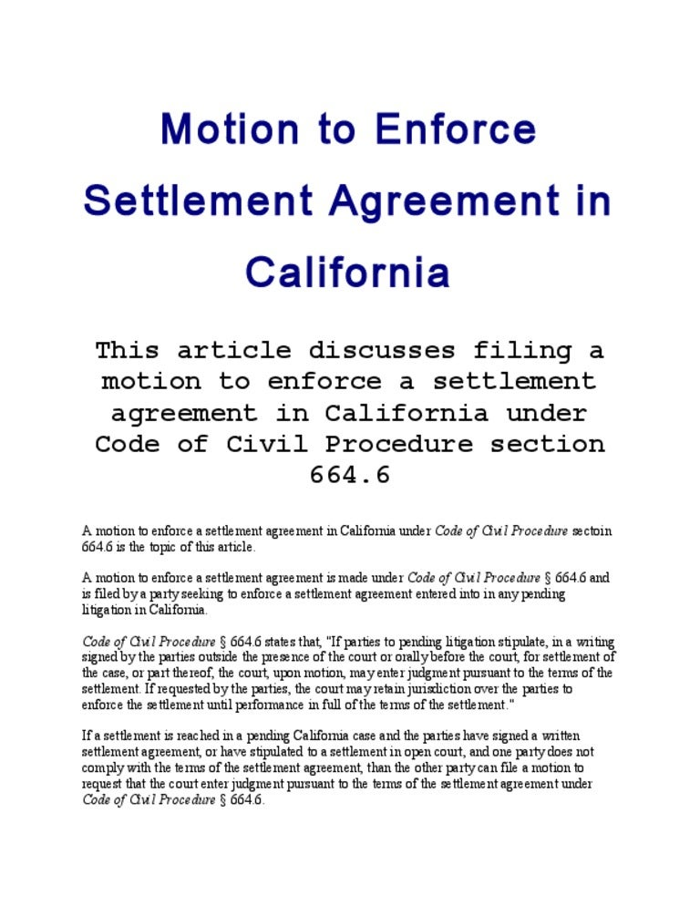 Motion To Enforce Settlement Agreement In California Article