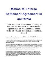 Sample California Motion To Enforce Settlement Agreement