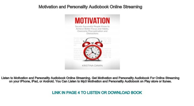 Motivation and Personality Audiobook Online Streaming