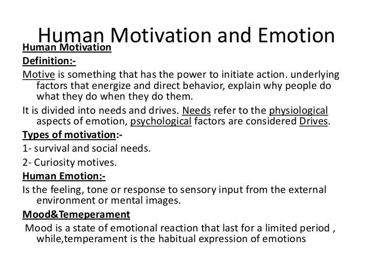 motivation and emotion psychology