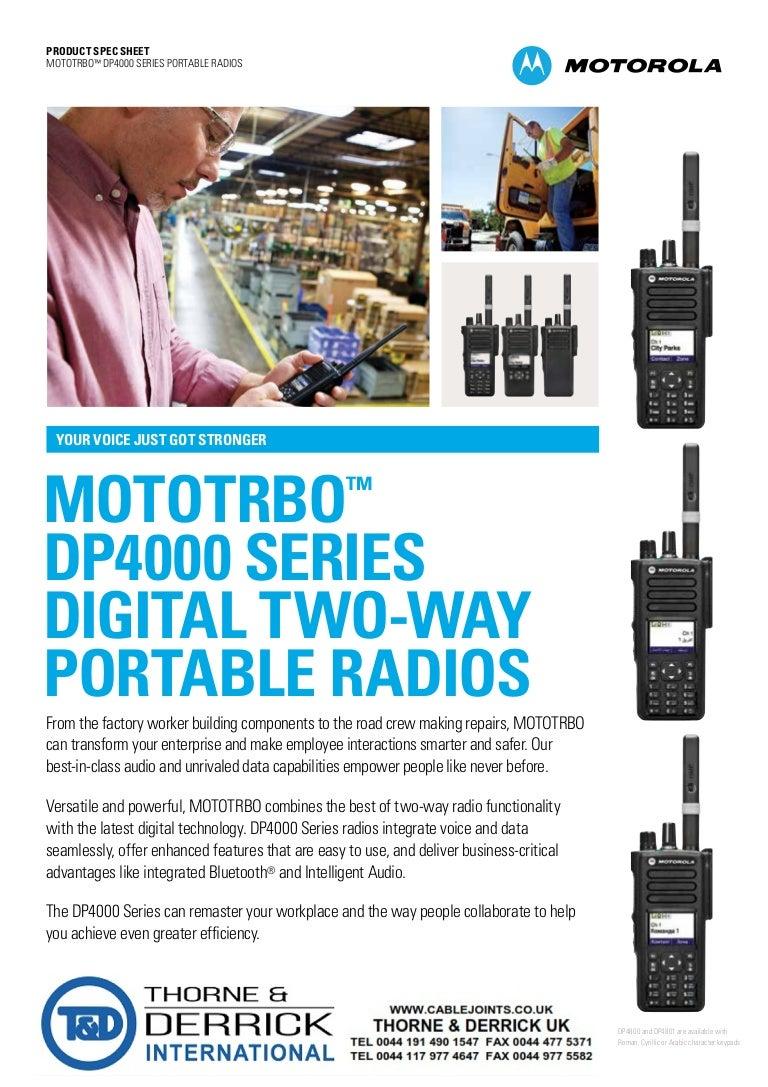 Motorola MOTOTRBO DP4000 ATEX Portable Two-Way Radios For Hazardous A…