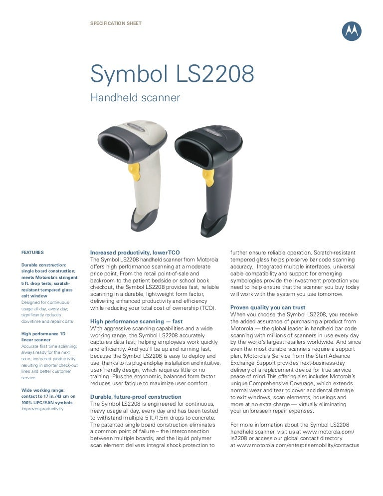 Motorola Symbol Ls2208 Barcode Scanner Trridevlabelss