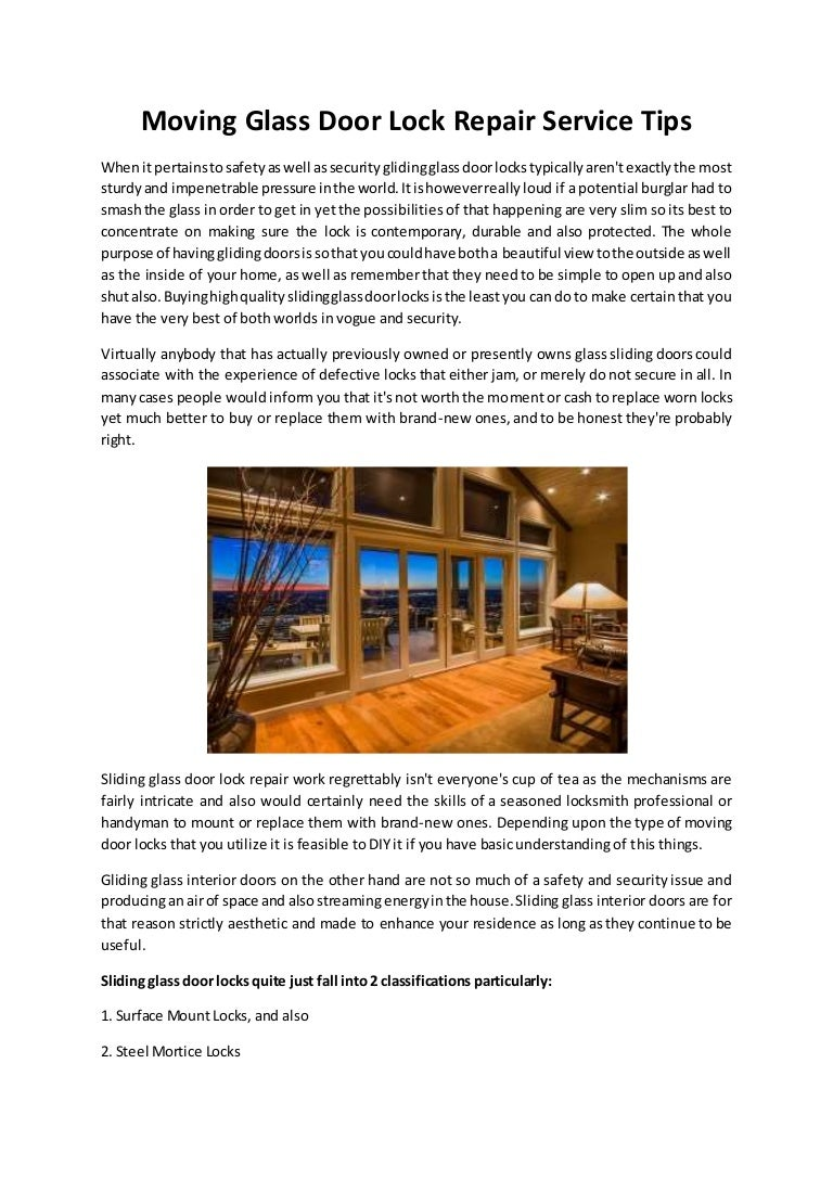 Moving Glass Door Lock Repair Service Tips