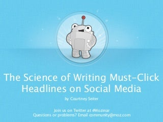 The Science of Writing Must-Click Headlines on Social Media