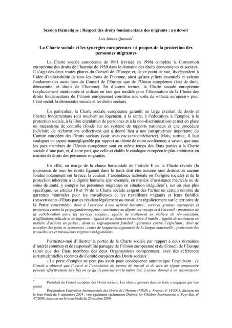 La Charte sociale et les synergies européennes : à propos de la protection des personnes migrantes