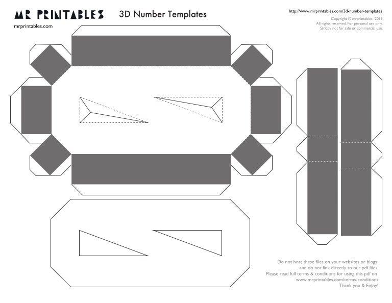 picture regarding Printable Number Templates identify Mr printables-3d-quantity-templates