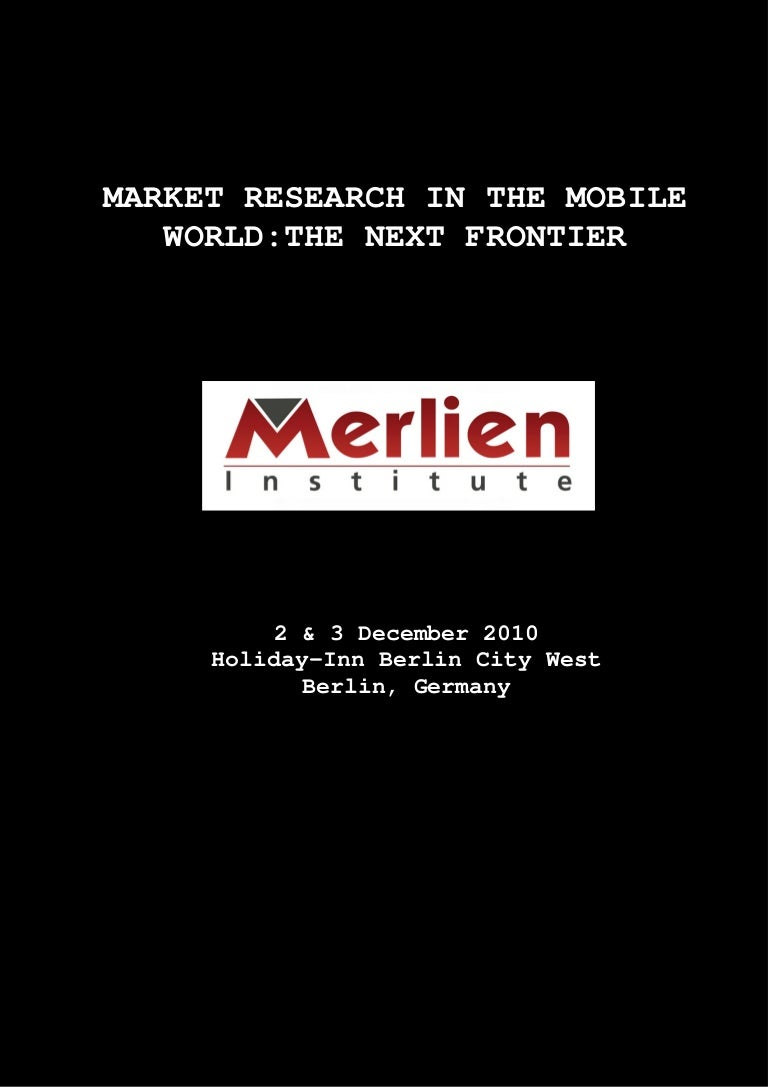 Aiesec Hannover market research in the mobile world 2010