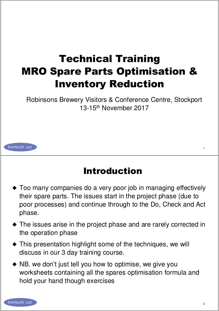 Mro spare parts optimisation and inventory reduction uk 2017 11