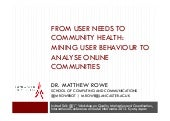 From User Needs to Community Health: Mining User Behaviour to Analyse Online Communities