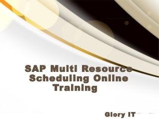 sap multi resource scheduling online training