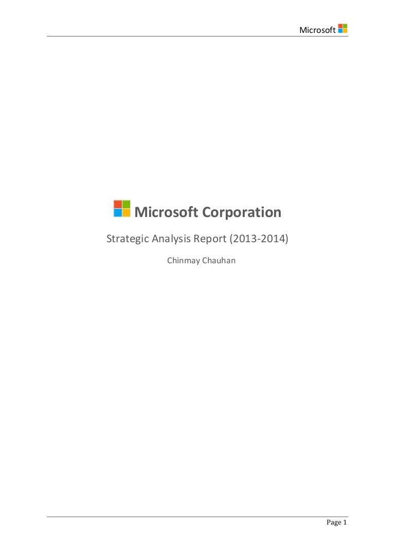 Strategic Analysis of Microsoft Corp 2014 – Microsoft Competitive Analysis