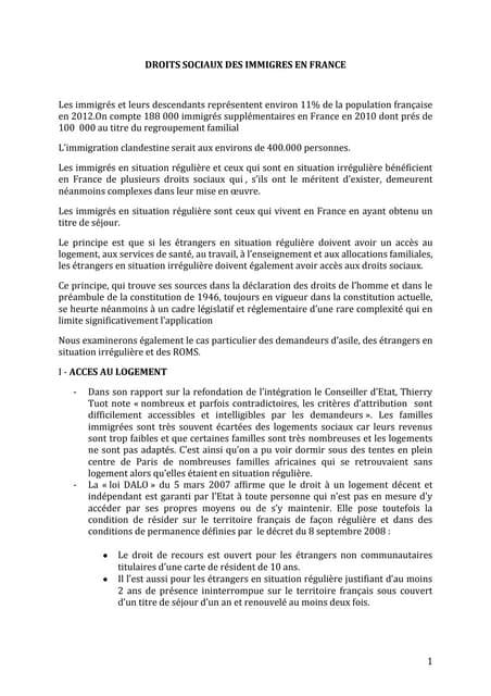 Droits sociaux des immigrés en France