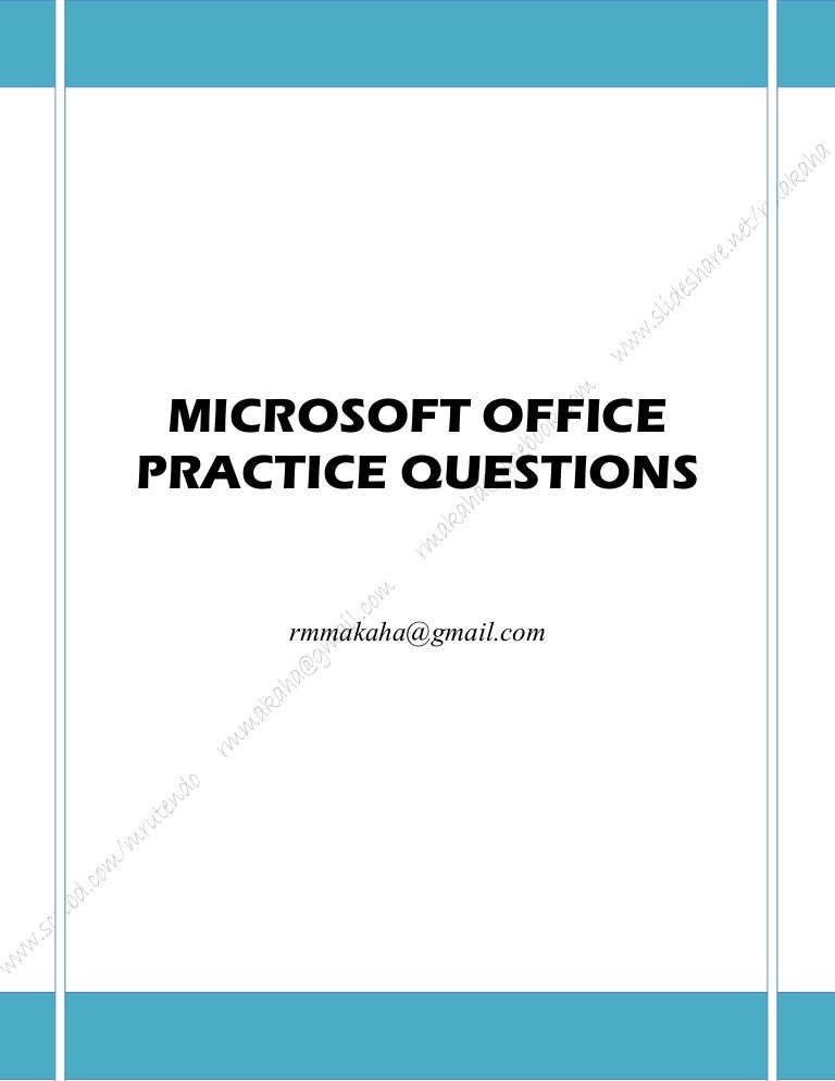 Ms word 2007 sample practical test questions pdf