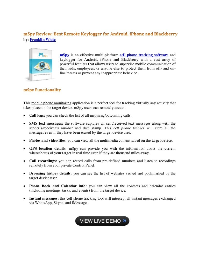 Mspy Review Best Remote Keylogger For Android Iphone And Blackberry