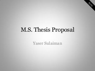 Master thesis thesis proposal